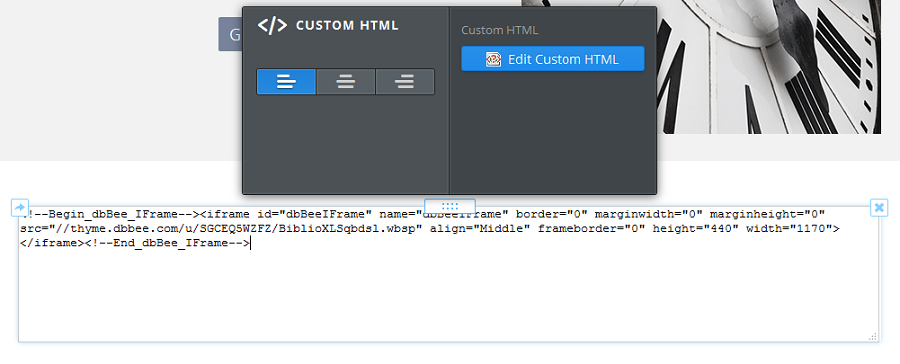 Paste the code you copied from the previous step into the text field in the Embed Code / Custom HTML element