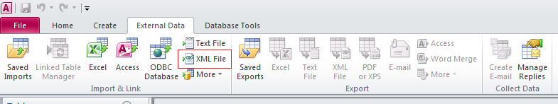 "3.Open the existing Access databaseor create the new ona and select the ""External data' tab. Next, select the ""XML file' command from ""Import & link' panel."