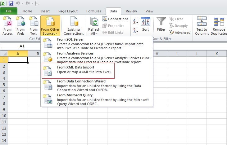 "3. Open the existing Excel workbook or create the new one and select the ""Data"